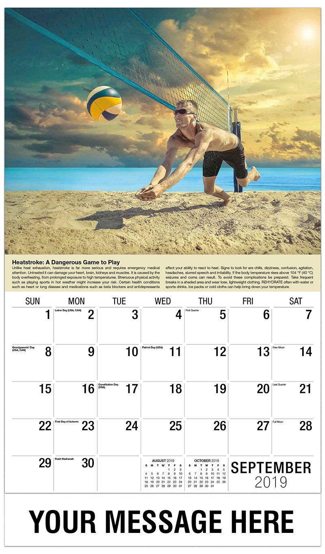 2019 Business Advertising Calendar - Volleyball Player - September