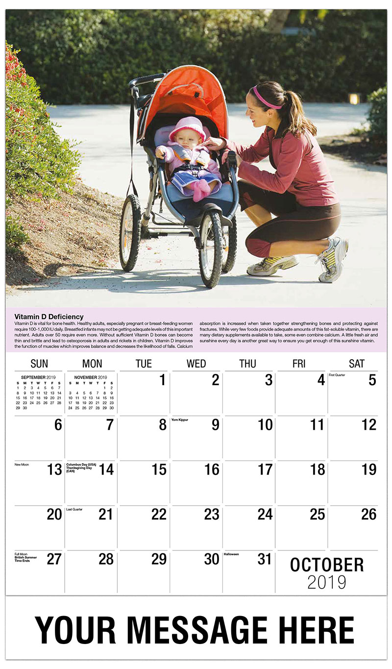 2019 Business Advertising Calendar - Woman and Baby - October
