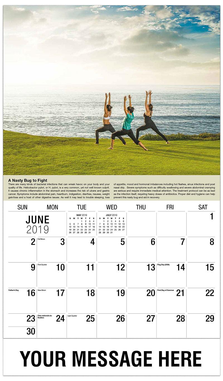 2019 Promo Calendar - 3 Women Doing Yoga - June