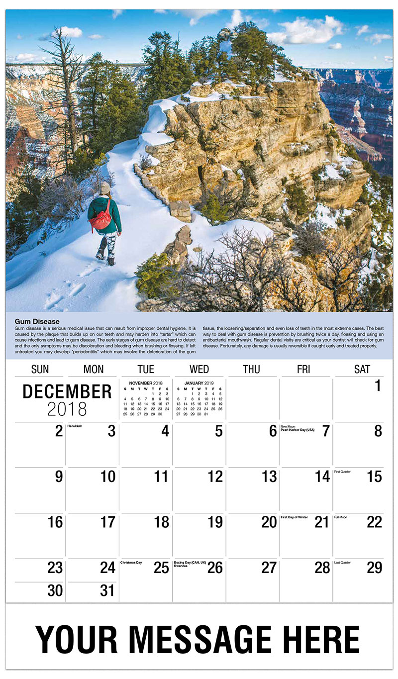 2019 Promotional Calendar - Woman On Snowy Mountain/Canyon - December_2018