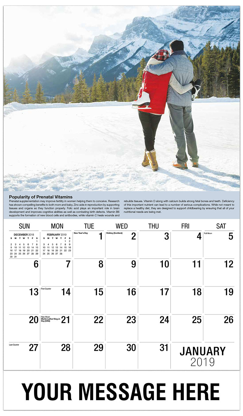 2019 Promotional Calendar - Man And Woman With Skates - January