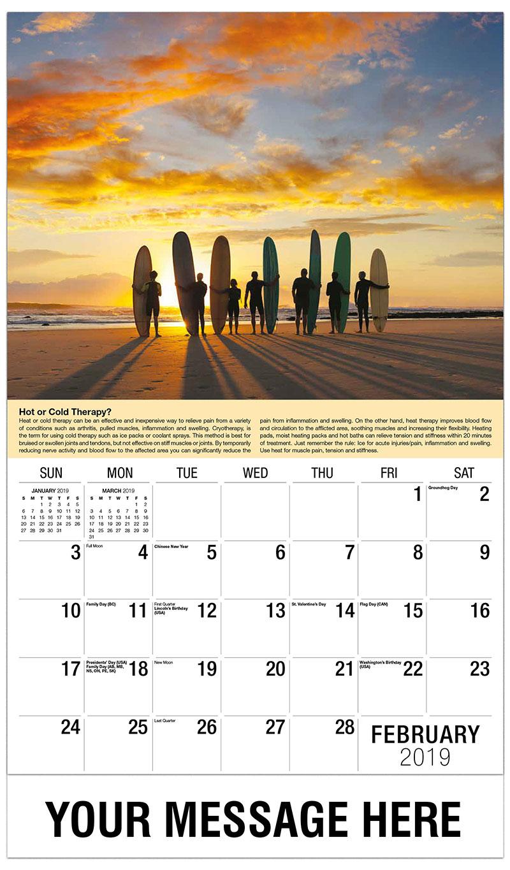 2019 Promotional Calendar - Surfers - February