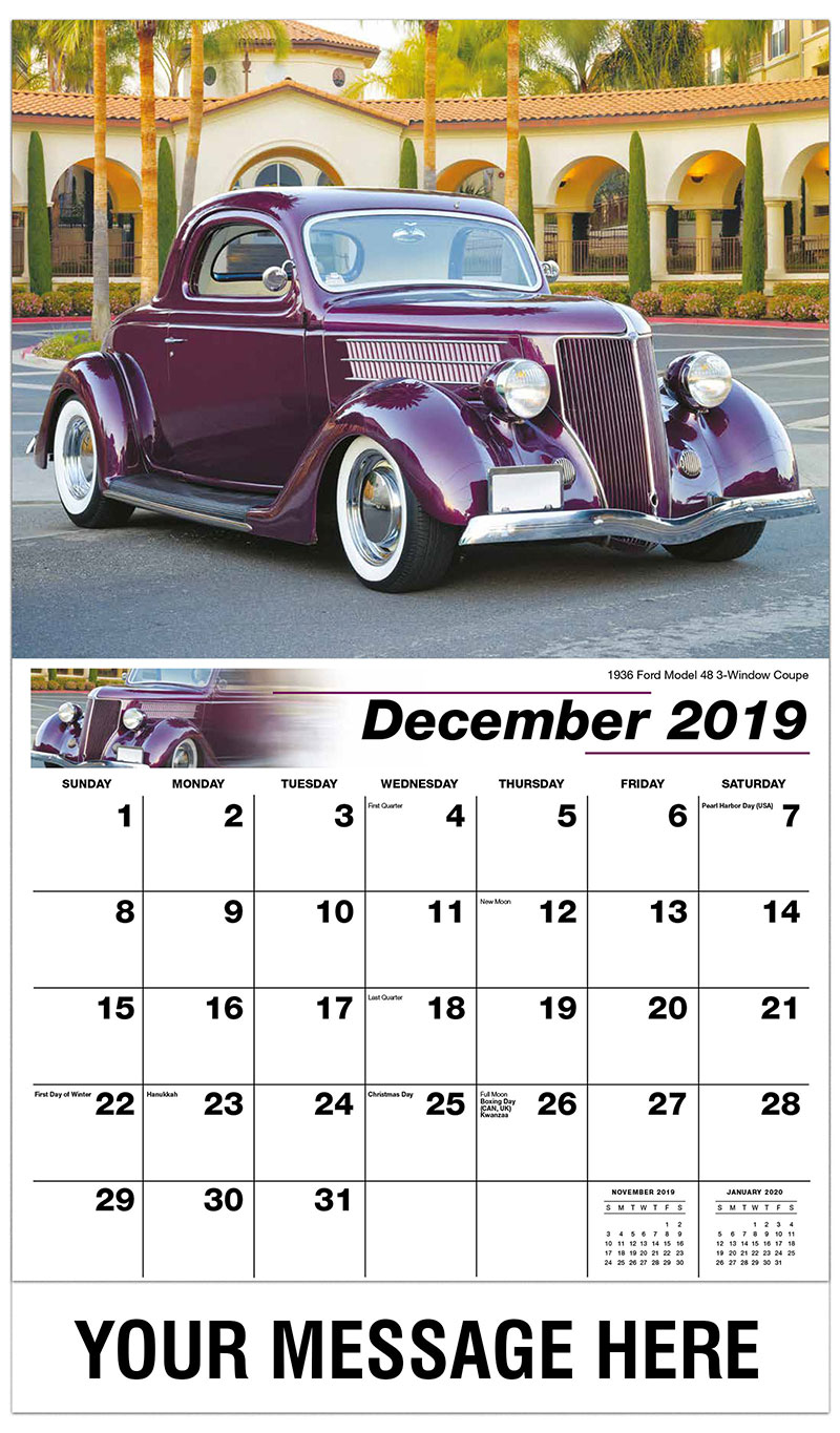 2019 Advertising Calendar - 1936 Ford Model 48 3-Window Coupe - December_2019