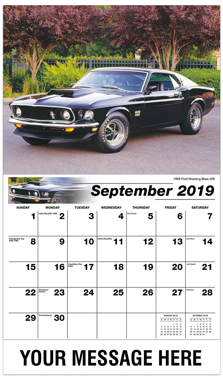 2019 Business Advertising Calendar - 1969 Ford Mustang Boss 429 - September