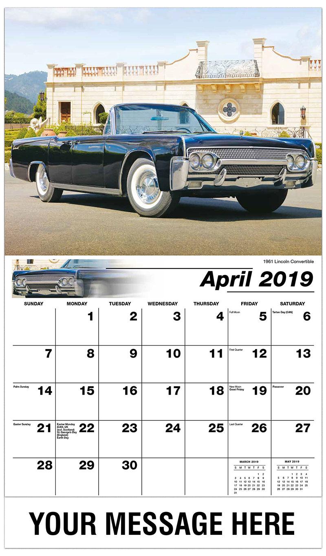 2019 Promo Calendar - 1961 Lincoln Convertible - April