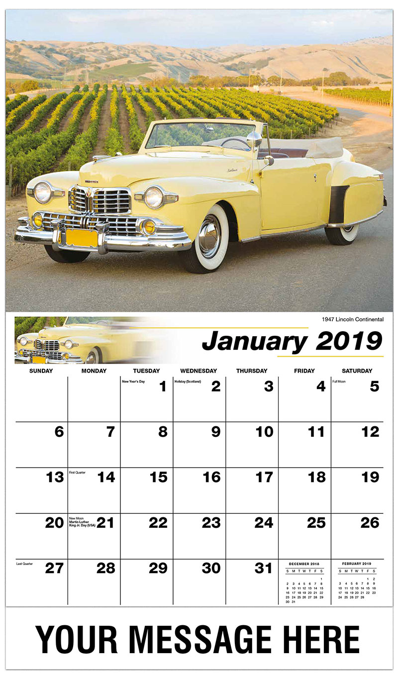2019 Promotional Calendar - 1947 Lincoln Continental - January