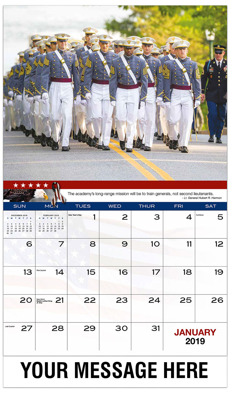 2019 Advertising Calendar - U.S Army Cadets March Together - January