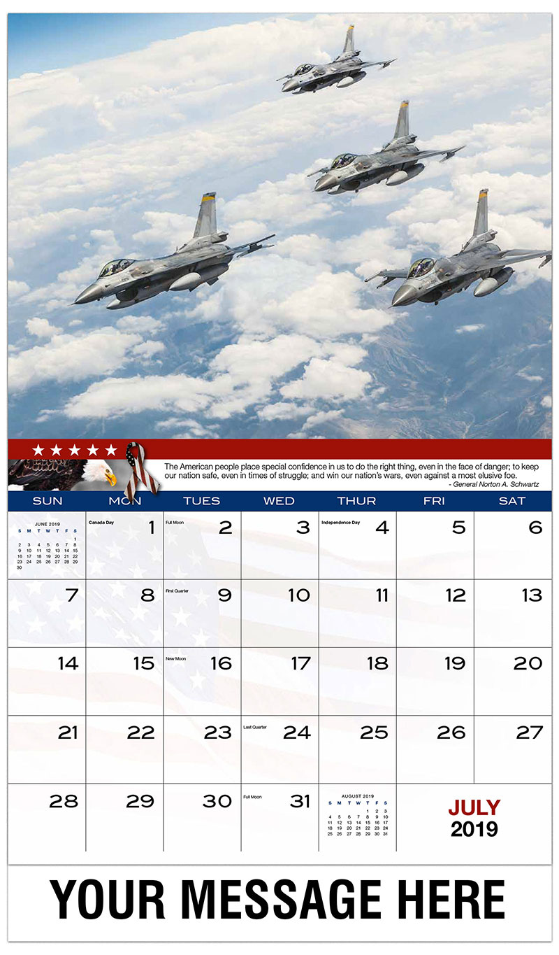 2019 Business Advertising Calendar - Fighter Jets Flying in Formation - July