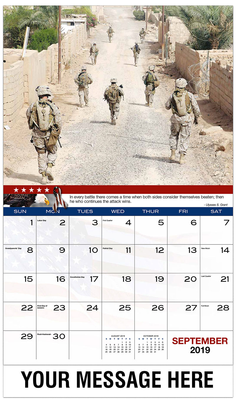 2019 Promo Calendar - Marine Riflemen Provide Security for Combat Engineers - September
