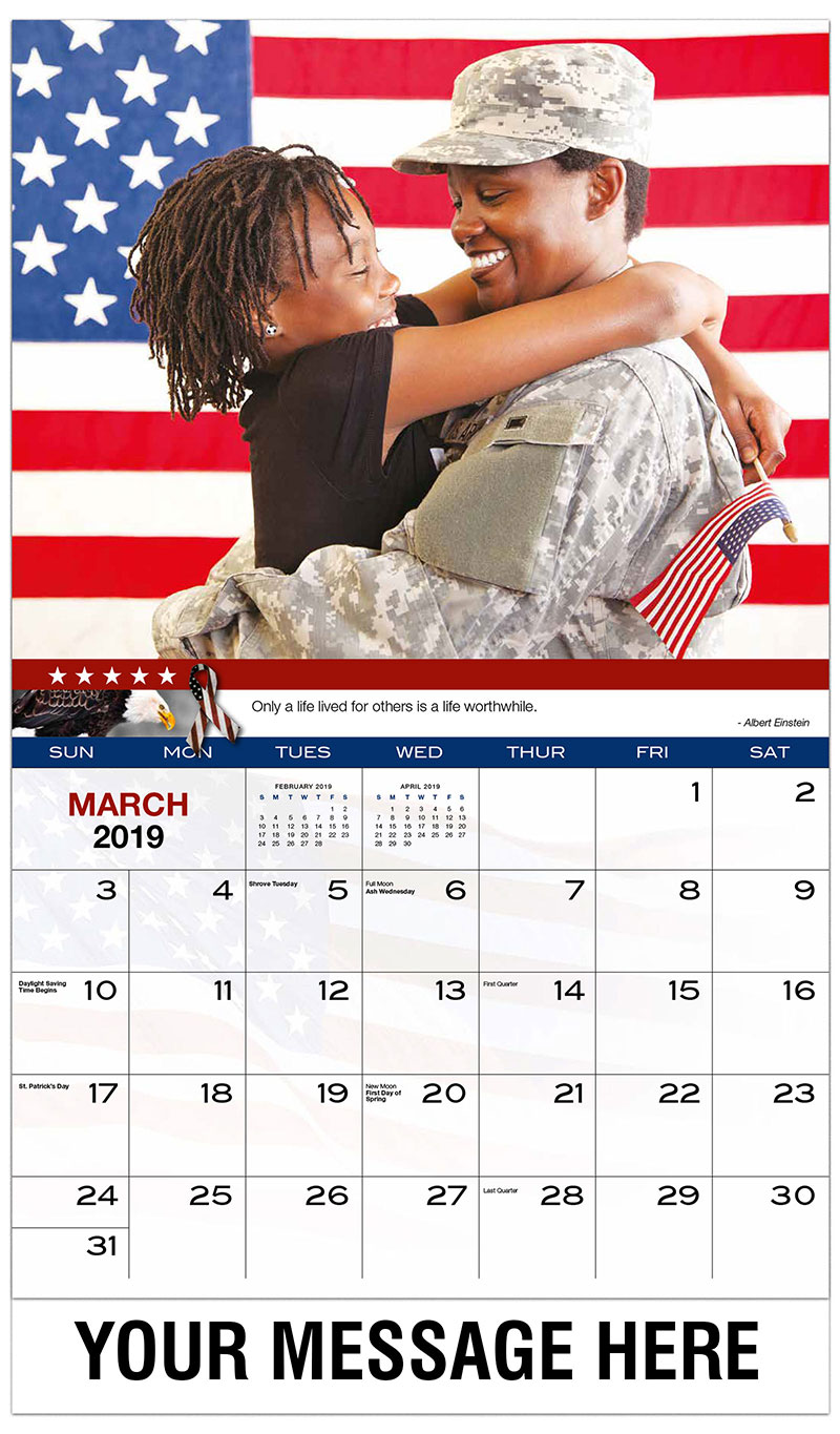 2019 Promotional Calendar - Military Mom Welcomed Home By Daughter. - March
