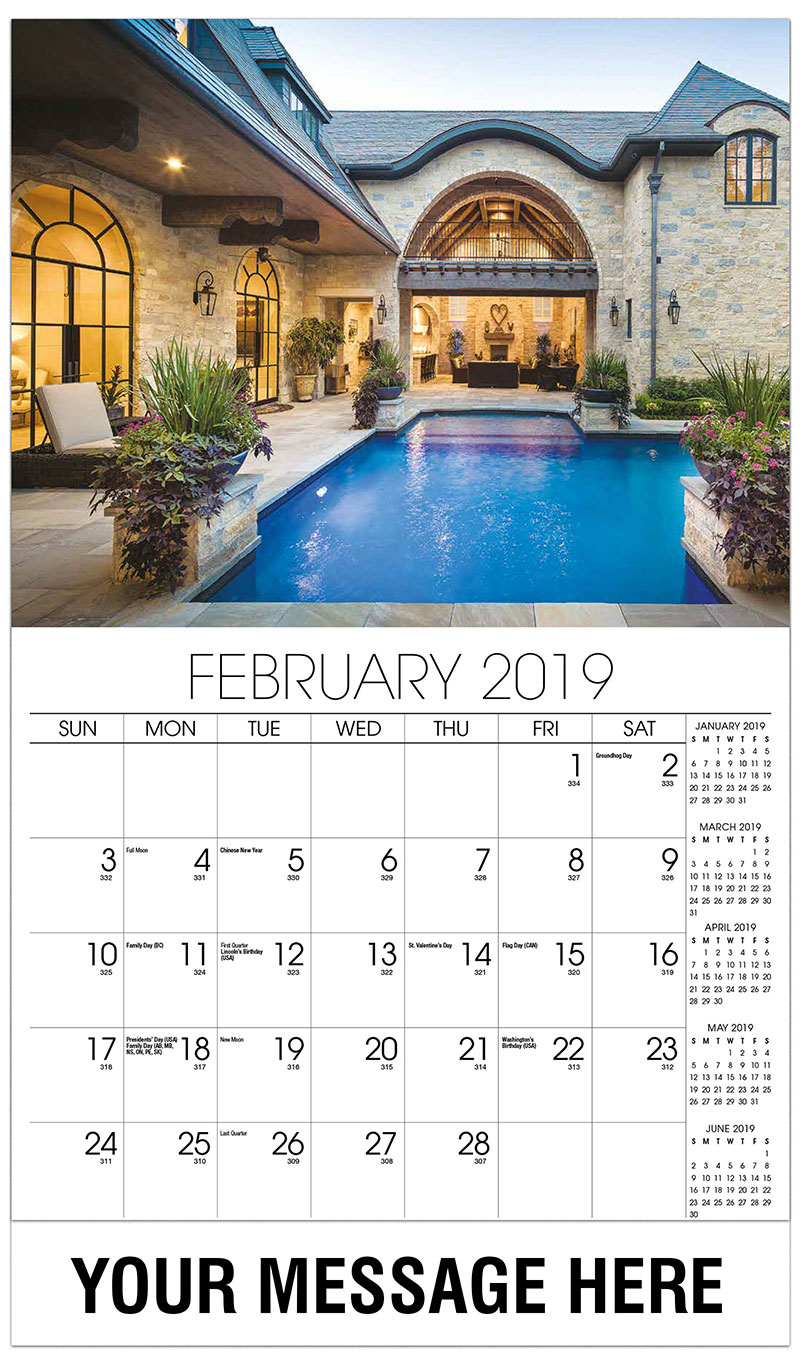2019 Advertising Calendar - Backyard With Pool - February
