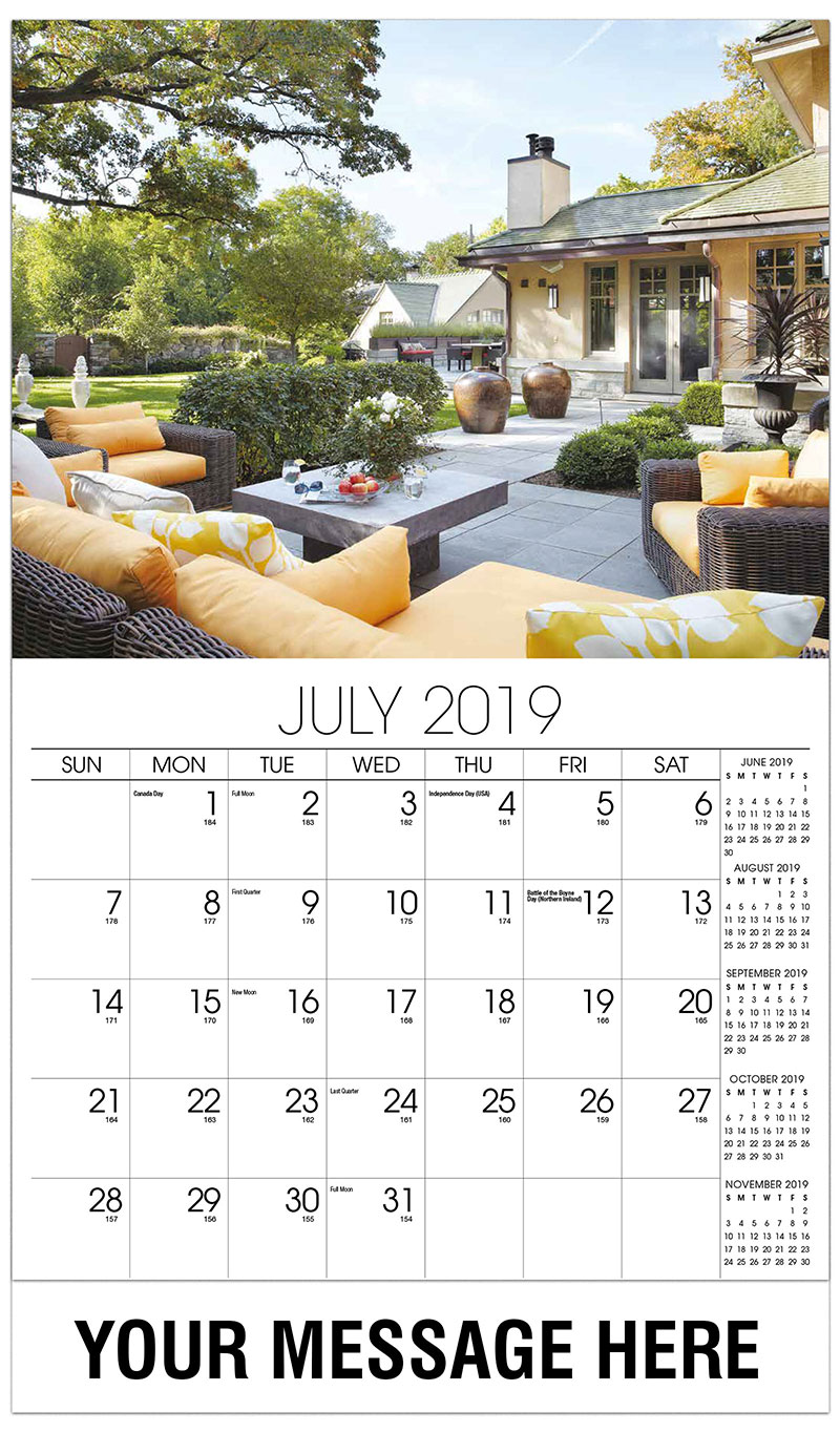 2019 Business Advertising Calendar - Modern Style Home - July