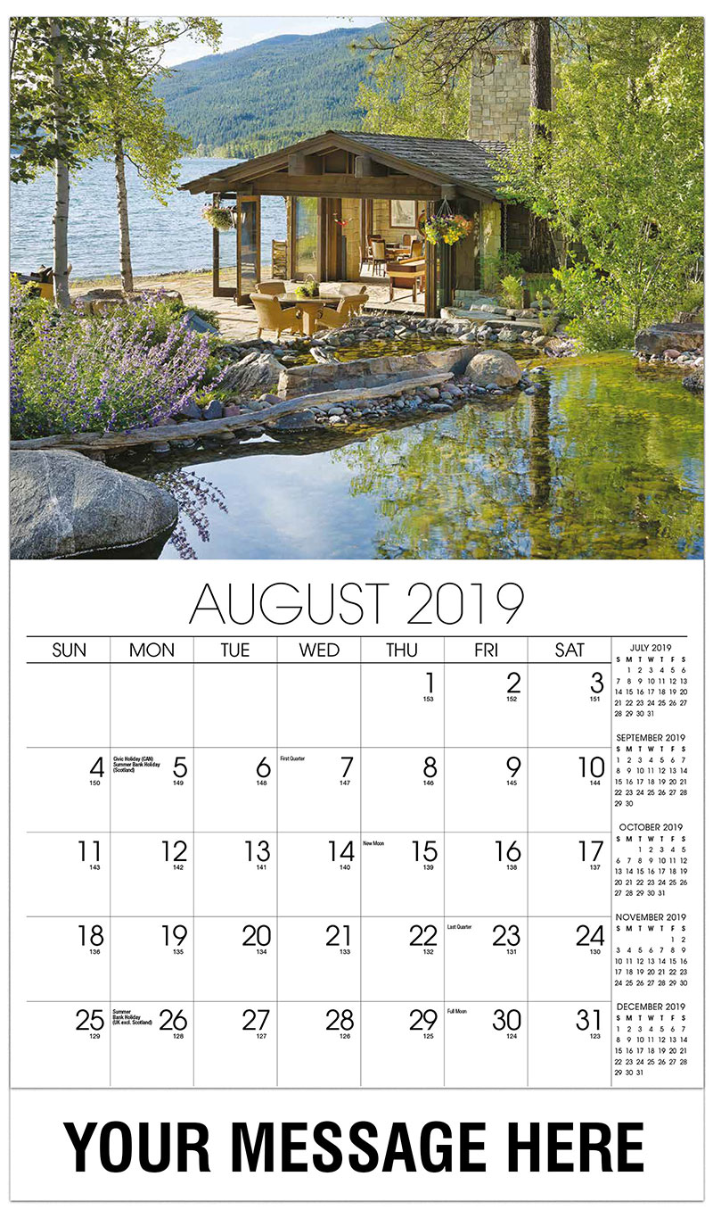 2019 Business Advertising Calendar - House By The Lake - August