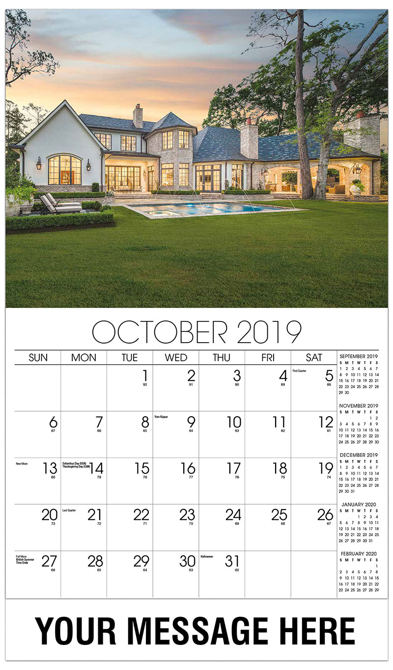2019 Promo Calendar - Home Exterior With Pool - October