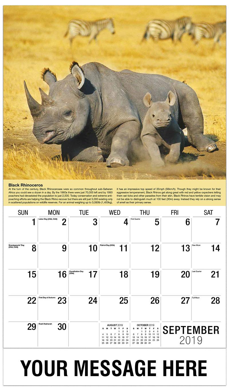 2019 Business Advertising Calendar - Black Rhinos - September
