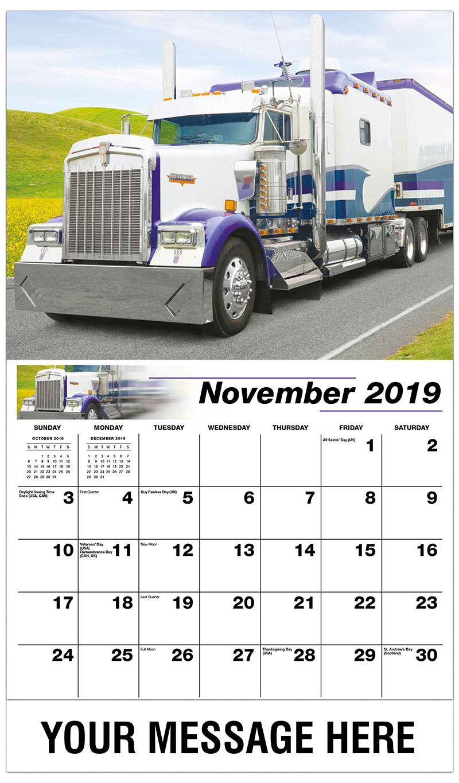 2019 Advertising Calendar - 1999 Kenworth W900 - November