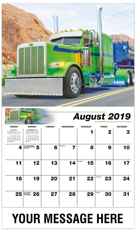 2019 Business Advertising Calendar - 2015 Peterbilt 389 - August