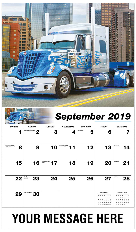 2019 Business Advertising Calendar - 2016 Freightliner Cascadia - September