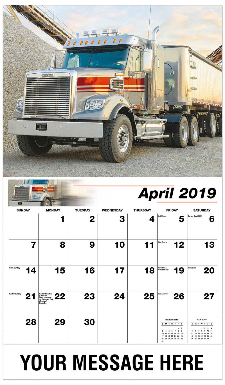 2019 Promo Calendar - 2015 Freightliner 122SD - April