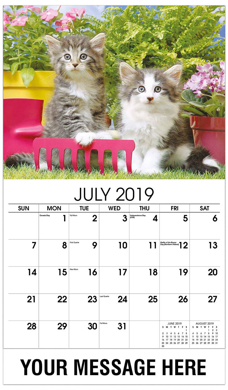 2019 Business Advertising Calendar - Two Kittens with Red Rake - July