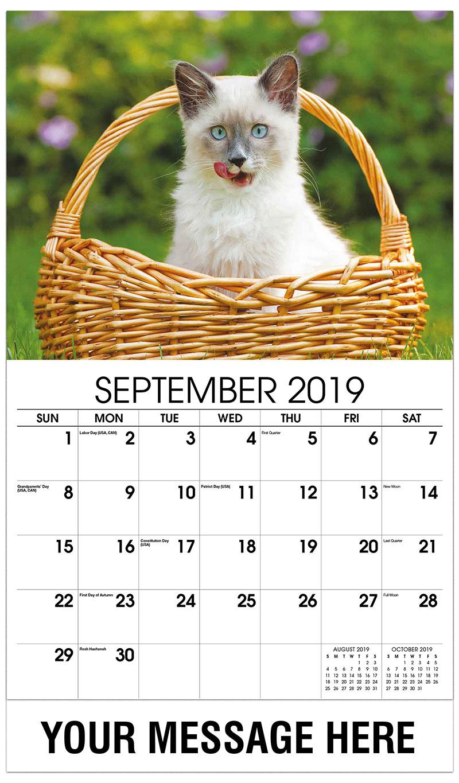 2019 Business Advertising Calendar - Siamese Kitten in Basket - September