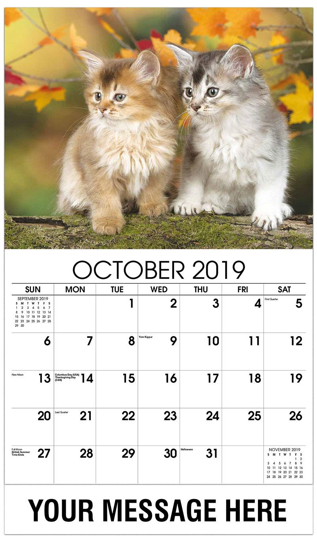 2019 Business Advertising Calendar - Two Kittens in Fall Leaves - October