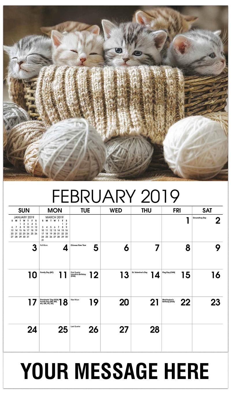 2019 Promotional Calendar - 5 Kittens in Basket - February