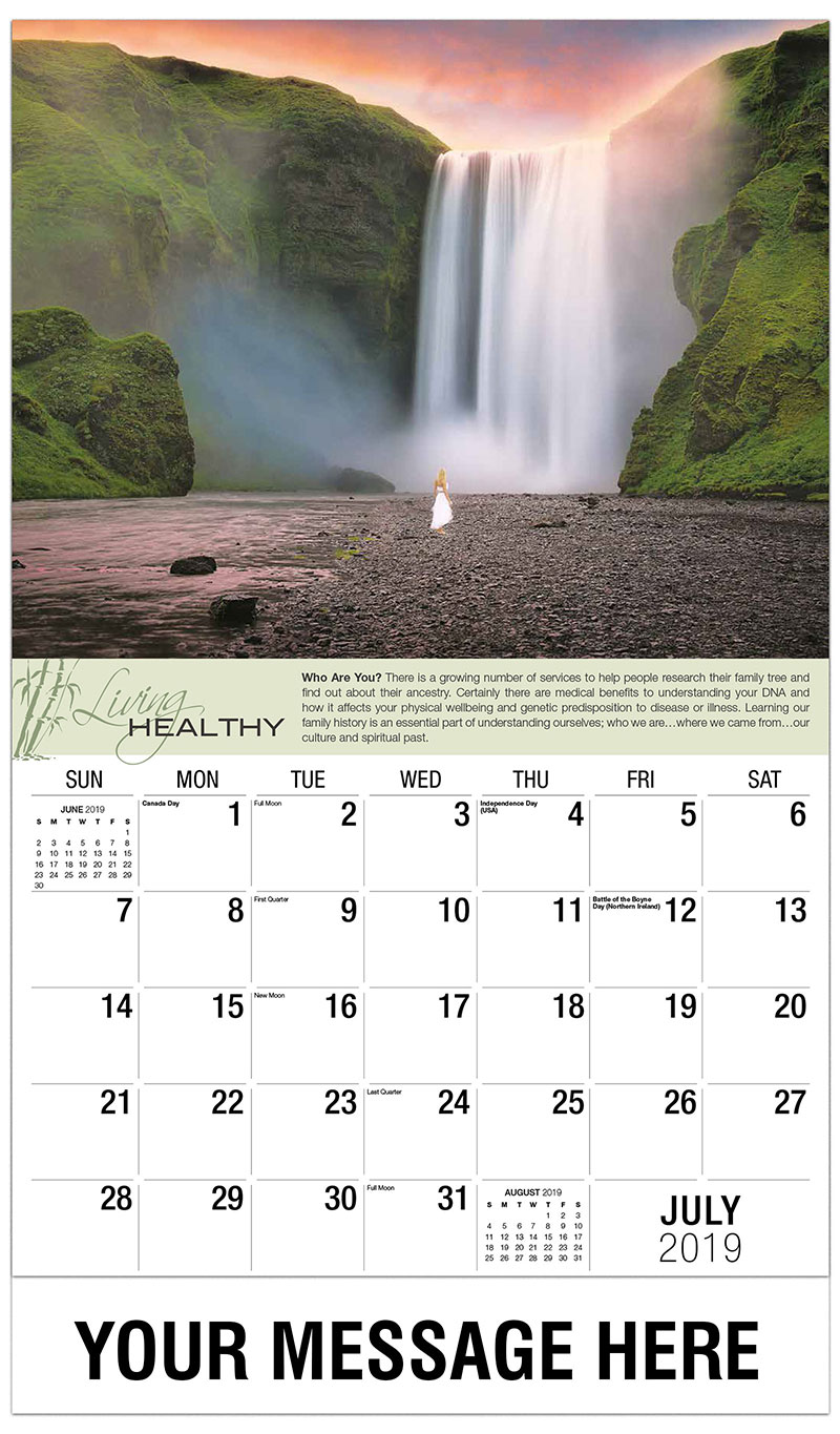 2019 Business Advertising Calendar - Lady Looking at Waterfall - July