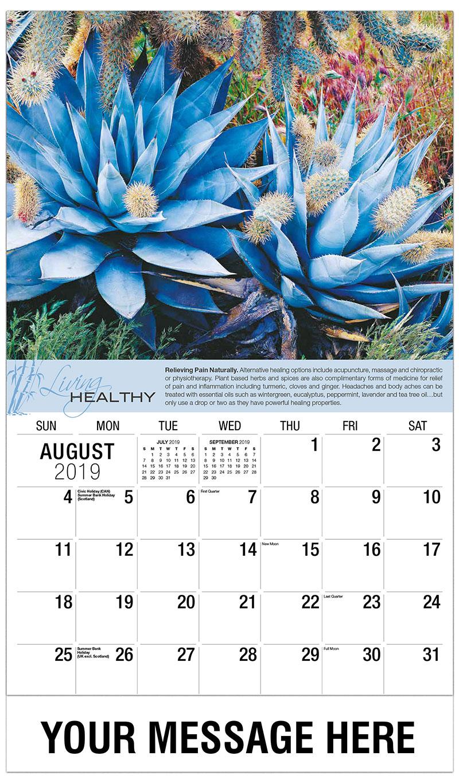 2019 Business Advertising Calendar - Cactus - August