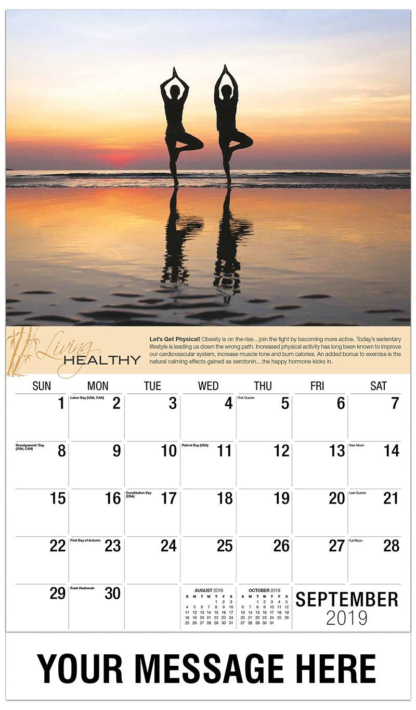 2019 Business Advertising Calendar - Man & Woman Doing Yoga - September