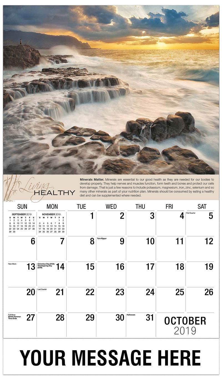 2019 Business Advertising Calendar - Water Over Rocks - October