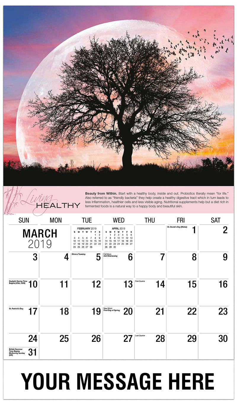 2019 Promo Calendar - Tree with Sunset and Birds - March