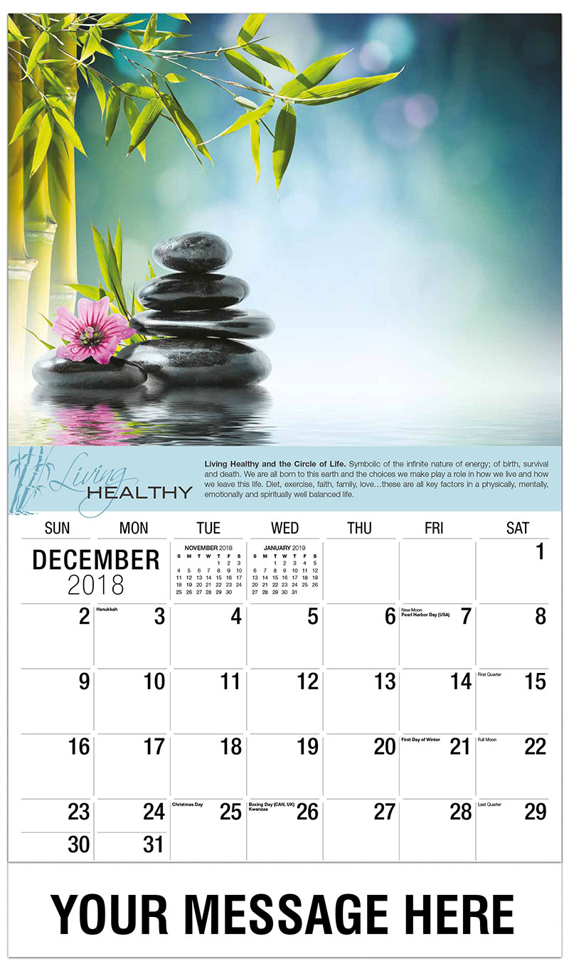 2019 Promotional Calendar - Bamboo And Stones On Water - December_2018