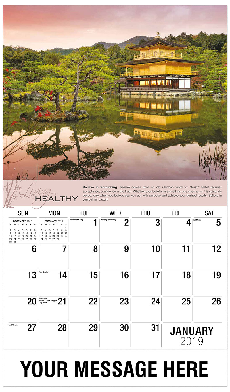 2019 Promotional Calendar - Asian Temple On Water - January