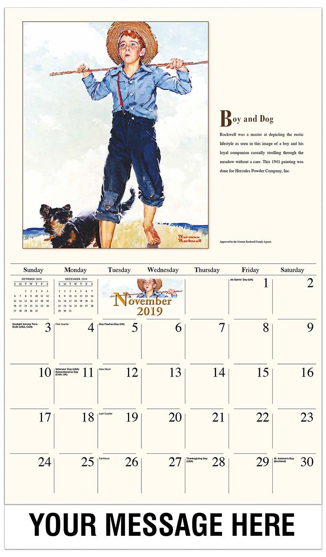 2019 Advertising Calendar - Boy And Dog - November