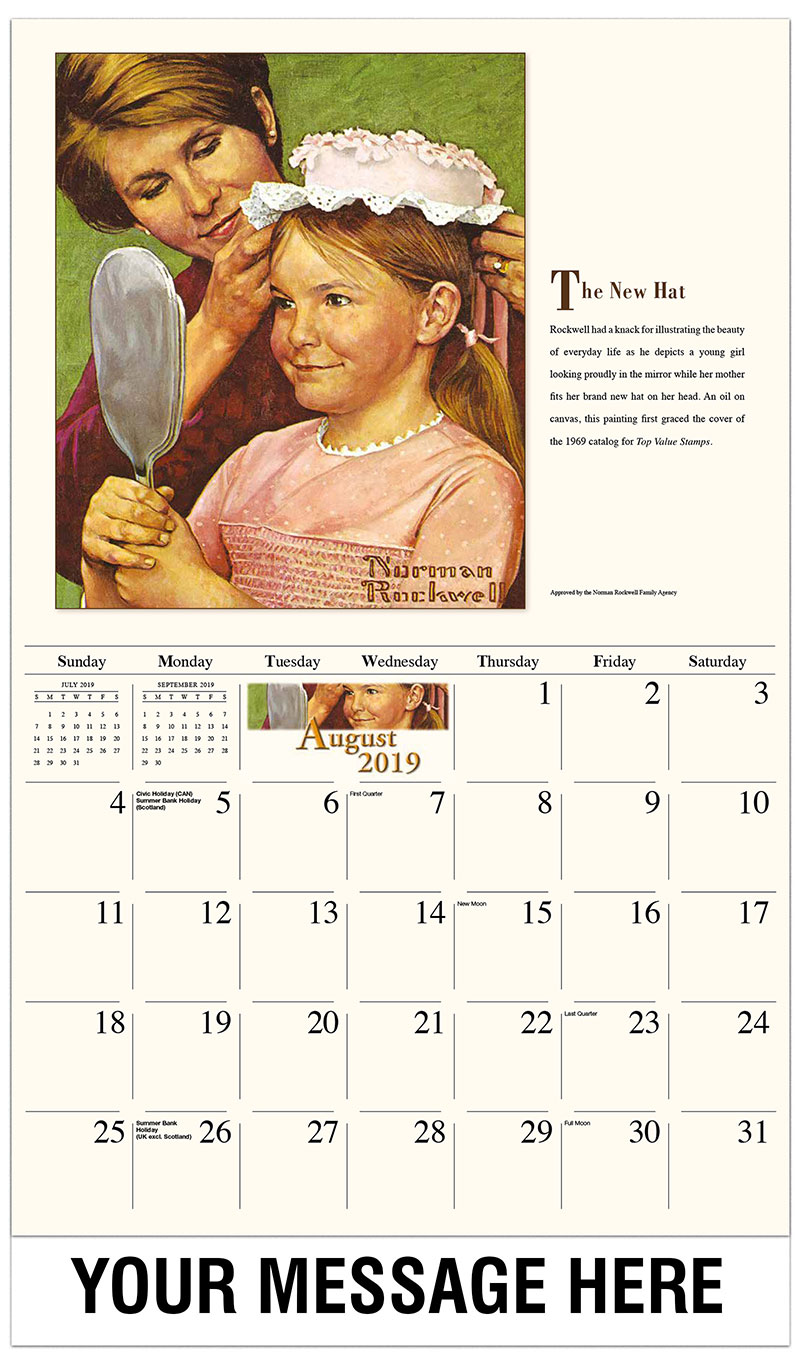 2019 Business Advertising Calendar - The New Hat - August