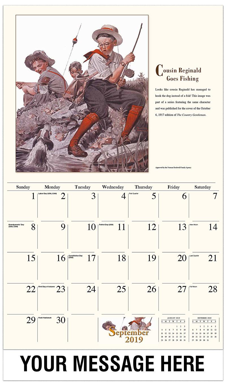 2019 Business Advertising Calendar - Cousin Reginald Goes Fishing - September