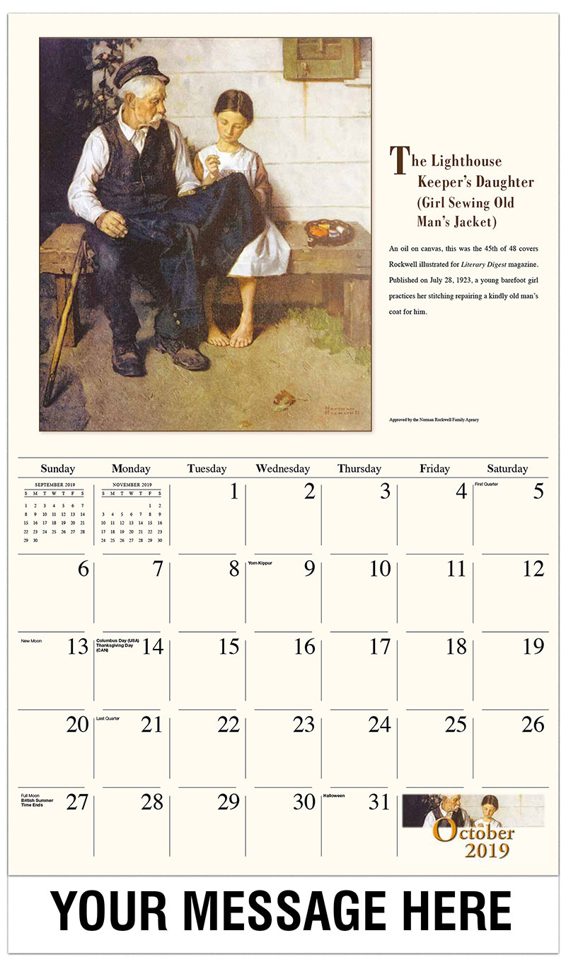 2019 Business Advertising Calendar - The Lighthouse Keepers Daughter - October