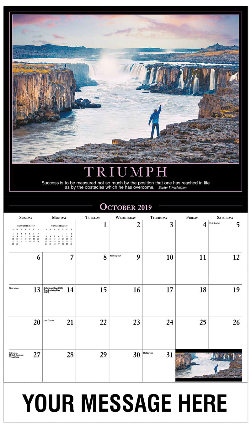 2019 Business Advertising Calendar - Man Standing at the Edge of Cliff - October