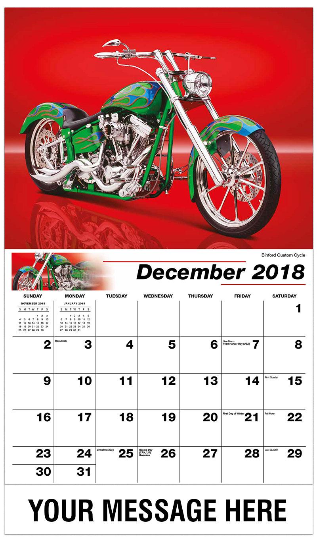 2019 Business Advertising Calendar - Binford Custom Cycle - December_2018