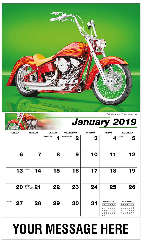 2019 Business Advertising Calendar - Bellotti's Inferno Custom Chopper - January