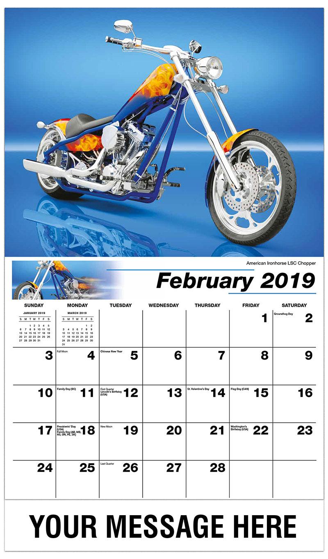 2019 Business Advertising Calendar - American Ironhorse LSC Chopper - February