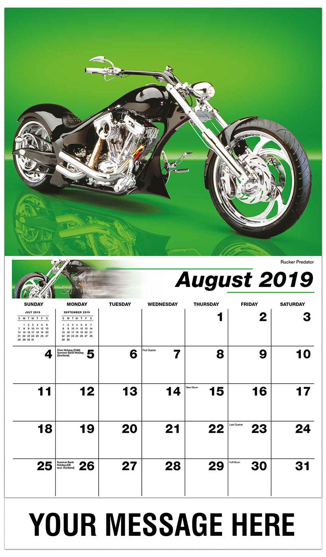 2019 Promo Calendar - Rucker Predator - August