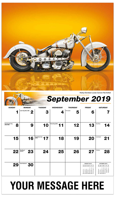 2019 Promo Calendar - Harley-Davidson Loose Cannon Fab Softail - September