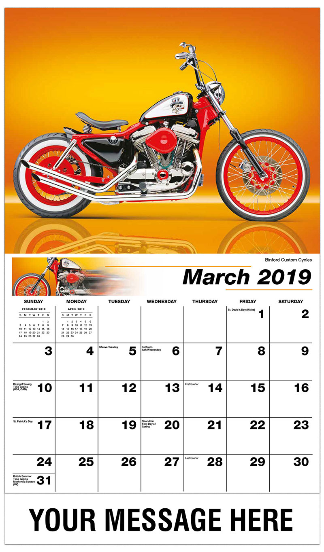 2019 Promotional Calendar - Binford Custom Cycles - March