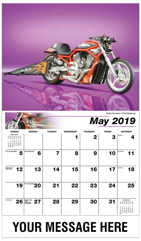 2019 Promotional Calendar - Harley Davidson V-Rod Destroyer - May