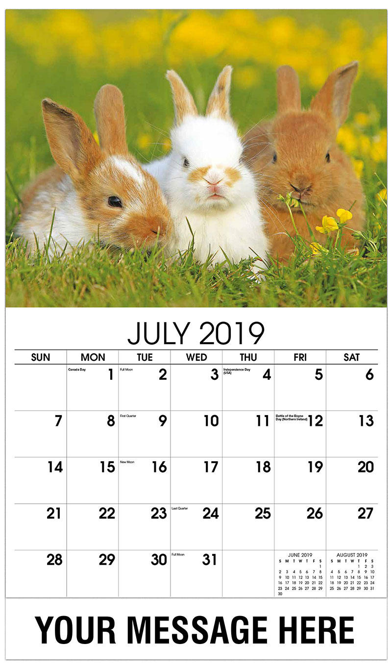 2019 Business Advertising Calendar - 3 Bunnies - July
