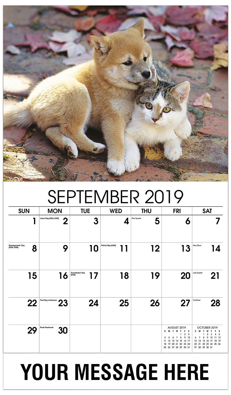 2019 Business Advertising Calendar - Pup And Kitten - September