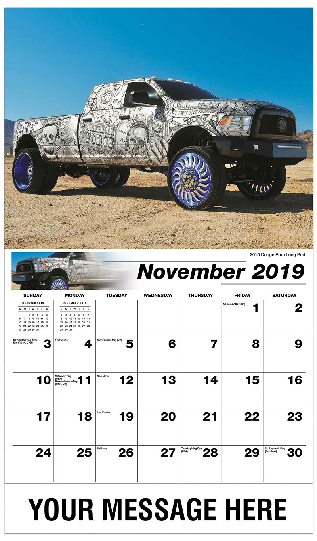 2019 Advertising Calendar - 2015 Dodge Ram Long Bed - November