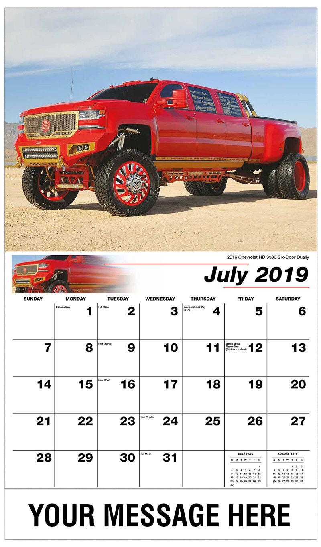 2019 Business Advertising Calendar - 2016 Chevrolet HD 3500 Six-Door Dually  - July
